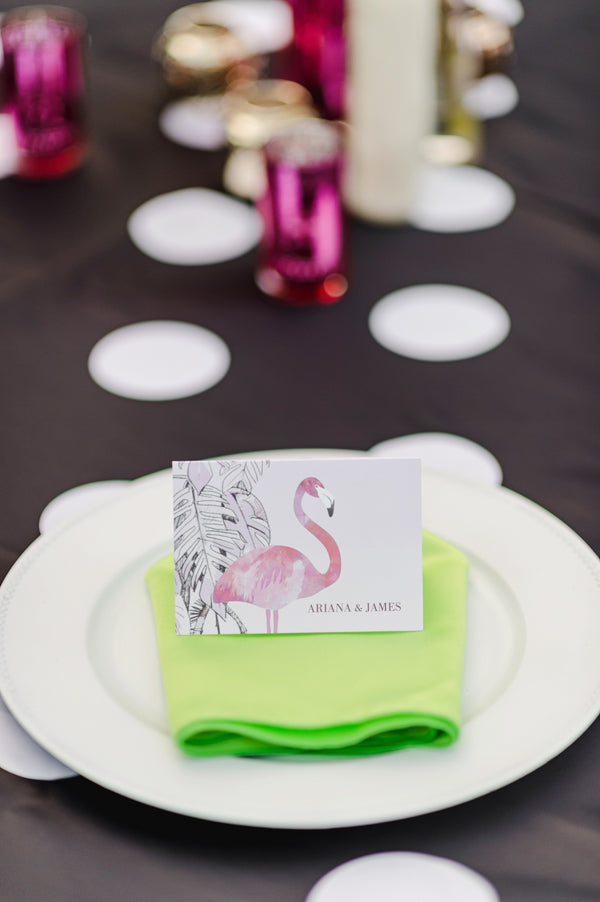 Flamingo place cards from Wedding Paper Divas| Two Prince Bakery Theater | Marc Edwards Photographs