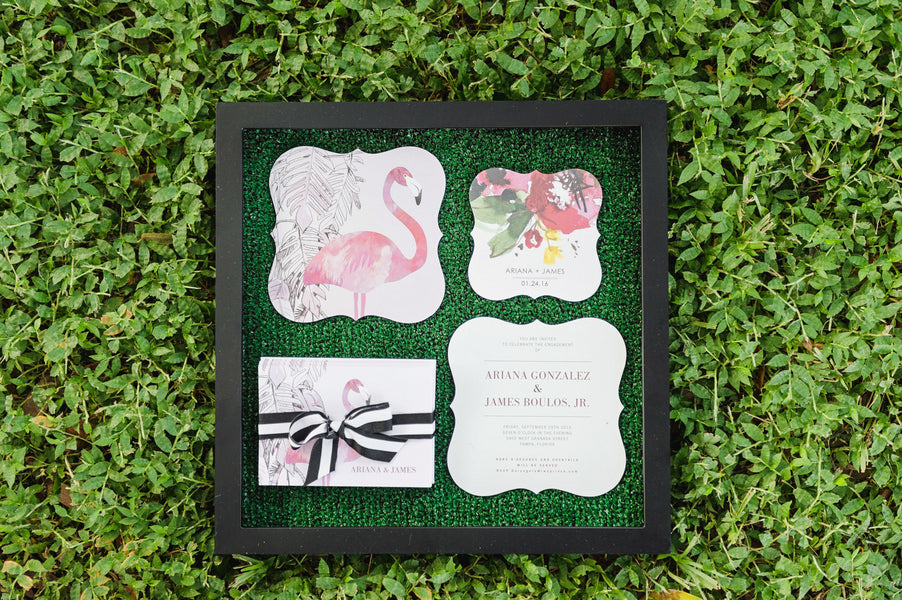 Set the Theme with a Flamingo Invitation from Wedding Paper Divas| Two Prince Bakery Theater | Marc Edwards Photographs