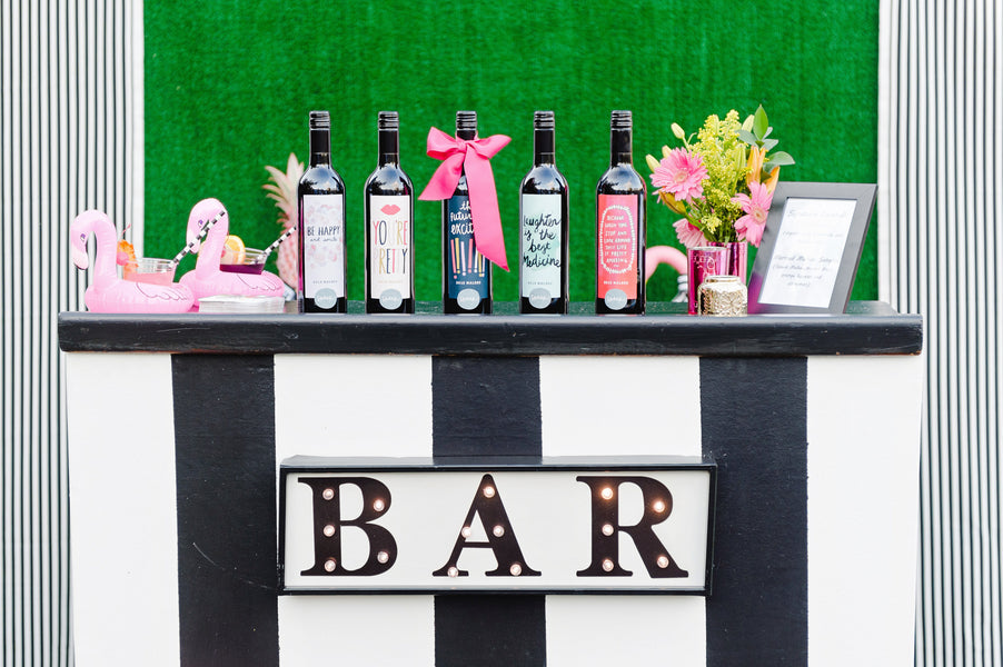 Retro Flamingo Engagement Party Bar with a turf backdrop | Two Prince Bakery Theater | Marc Edwards Photographs