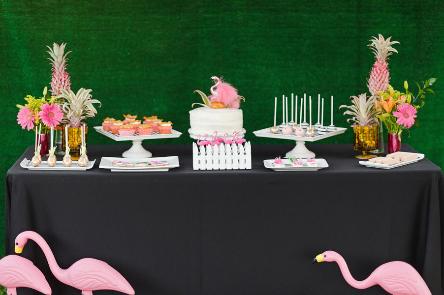 Flamingo themed dessert display| A Retro Flamingo Engagement Party | Two Prince Bakery Theater | Marc Edwards Photographs