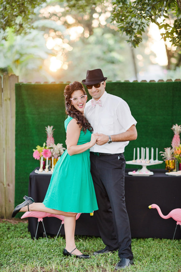 Dress up for a reto 1950s themed engagement party!| Two Prince Bakery Theater | Marc Edwards Photographs