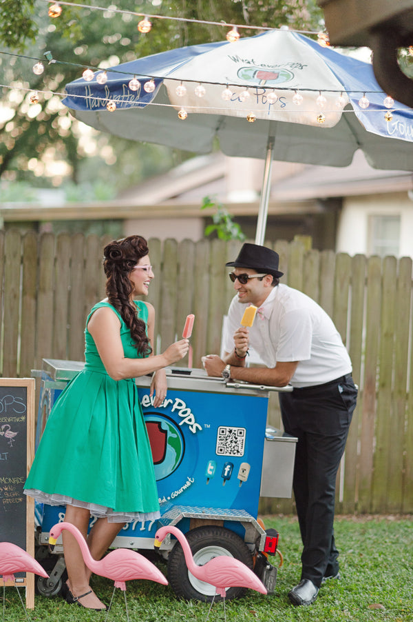 Engagement party with a popsicle cart | A Retro Flamingo Engagement Party | Two Prince Bakery Theater | Marc Edwards Photographs
