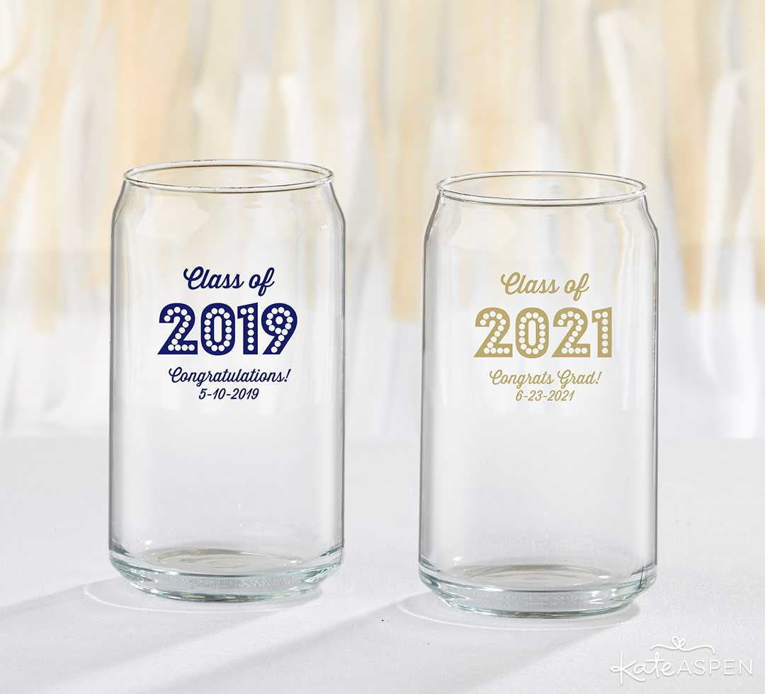 Personalized 16 oz Can Glasses | 2019 Fun Graduation Gifts, Favors, and Decor | Kate Aspen