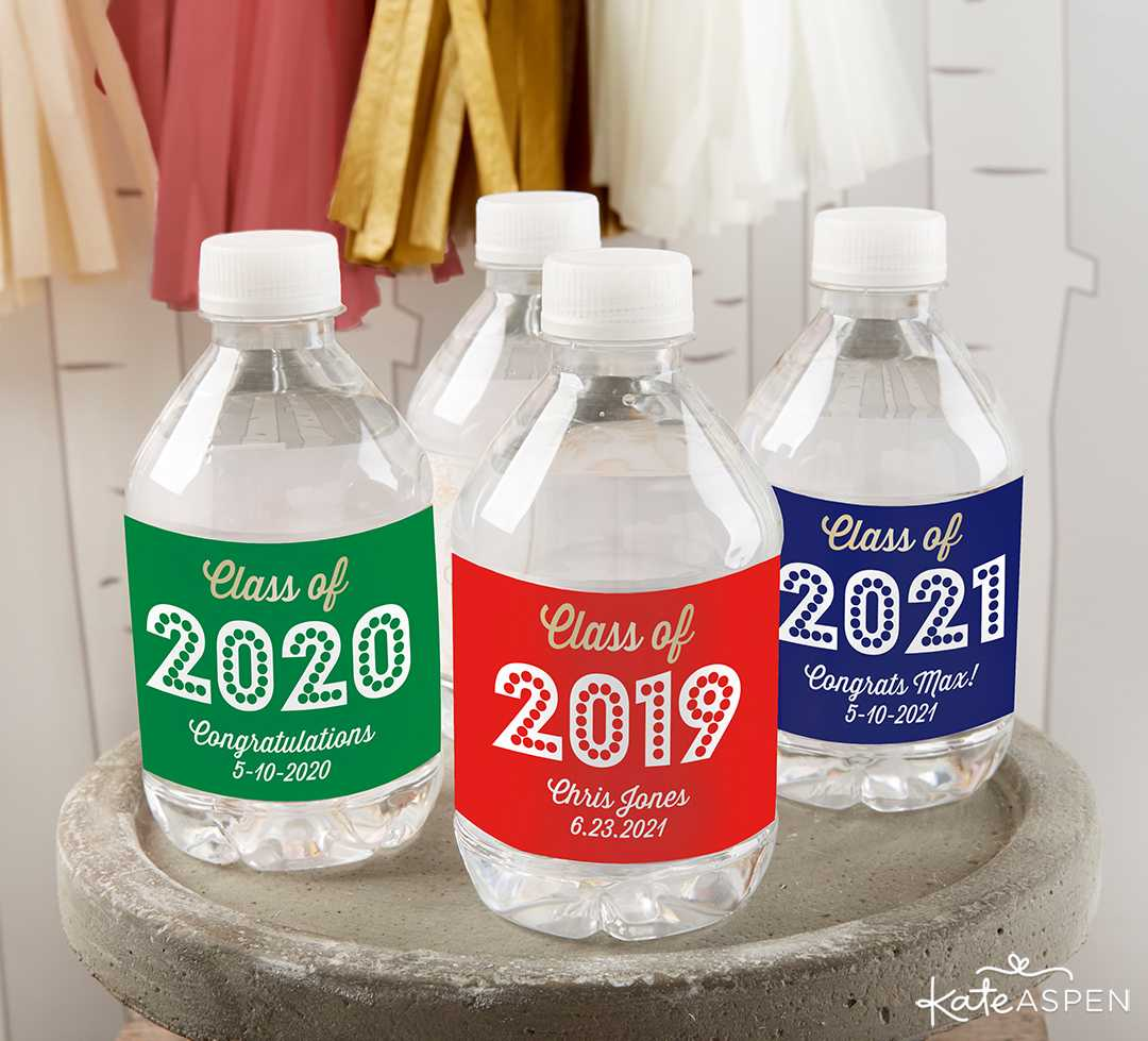 Personalized Water Bottle Labels | 2019 Fun Graduation Gifts, Favors, and Decor | Kate Aspen