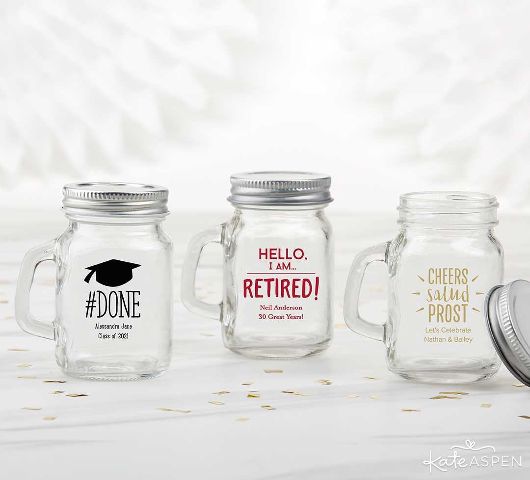 Personalized 4 oz Mini Mason Mug Shot Glass With Lid | 2019 Fun Graduation Gifts, Favors, and Decor | Kate Aspen