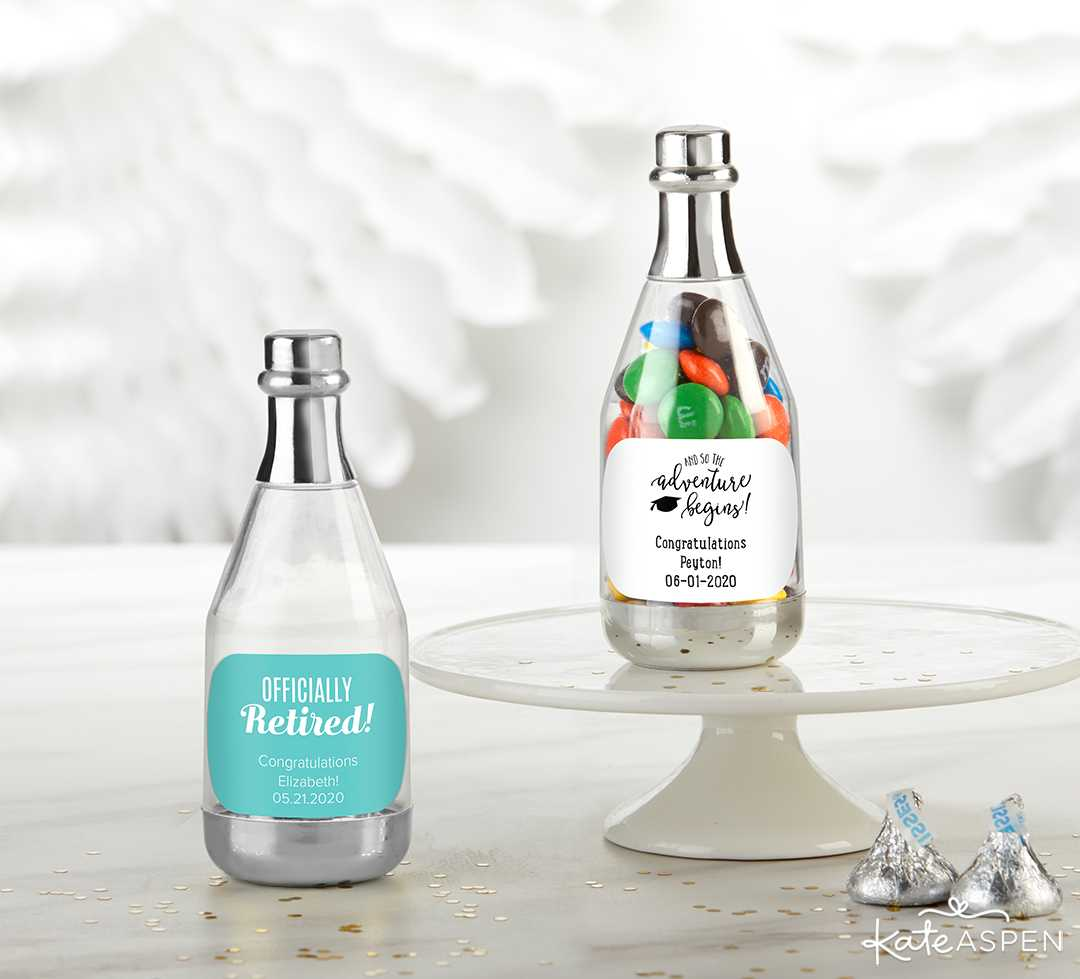 Personalized Silver Metallic Champagne Bottle Favor Container | 2019 Fun Graduation Gifts, Favors, and Decor | Kate Aspen