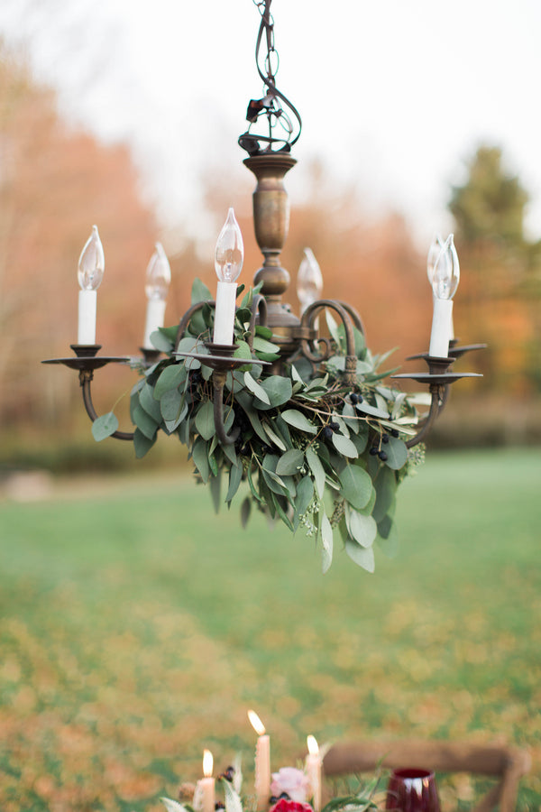 Greenery on Chandelier | Wine Inspired Fall Wedding | Brooke Ellen Photography
