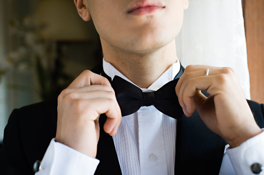 Groom Adjusting Bow Tie | Vintage Details for a Downton Abbey Inspired Wedding | HRM Photography
