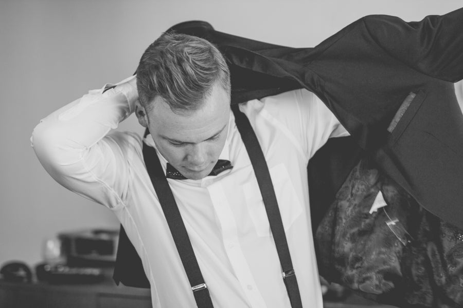 Groom Getting Ready | Purple Industrial Themed Wedding | Asteria Photography