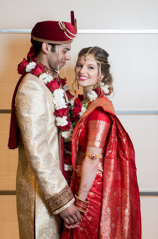Groom and Bride | A Vibrant Indian Fusion Wedding | Kate Aspen