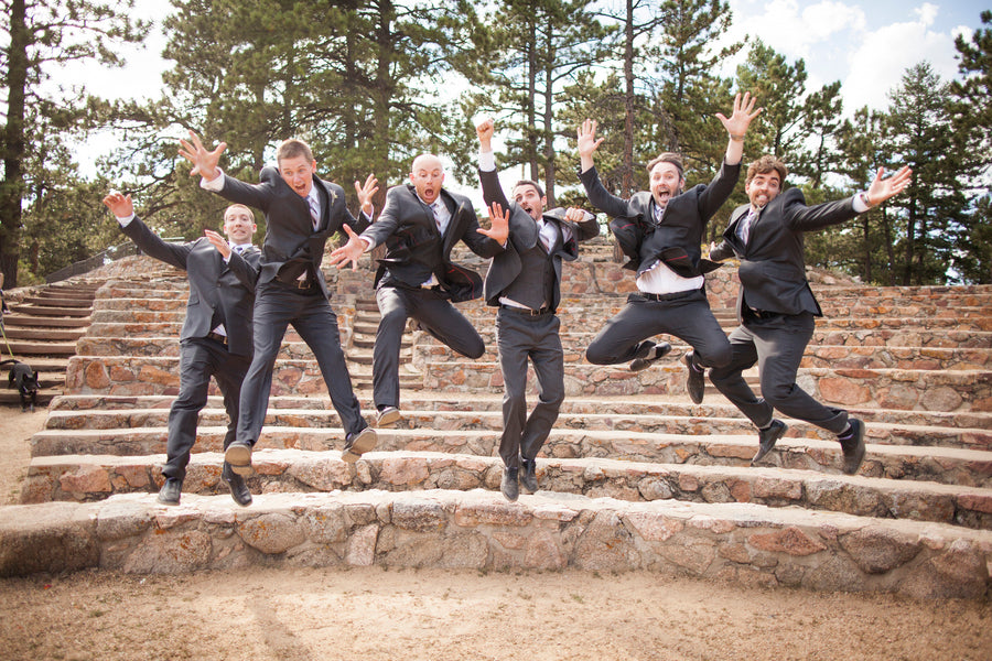 Groom and Groomsmen Jumping | Colorado Wedding | Katie Keighin Photography