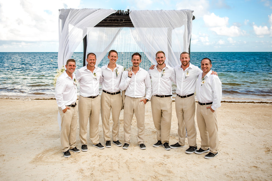 Groom and Groomsmen in White Shirts and Khakis | Destination Beach Wedding | Aldabella Photography