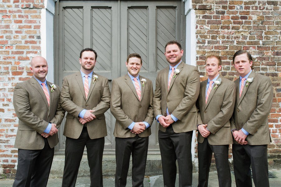 Groom and Groomsmen | Peachy Pink Wedding in Historic Charleston | Priscilla Thomas Photography