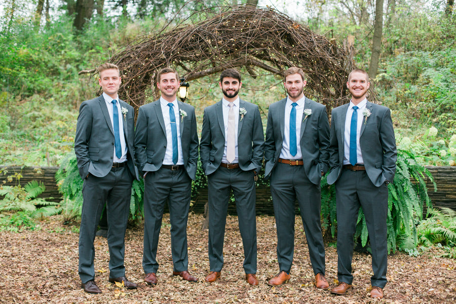 Groom and Groomsmen | A Flowery Fall Wedding | Kate Aspen