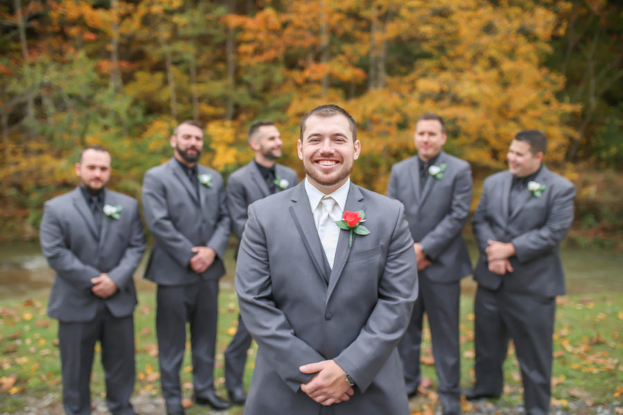 Groom and Groomsmen | Vibrant Red Accents In A Stunning Fall Wedding | Wild and Wonderful Photography | Kate Aspen