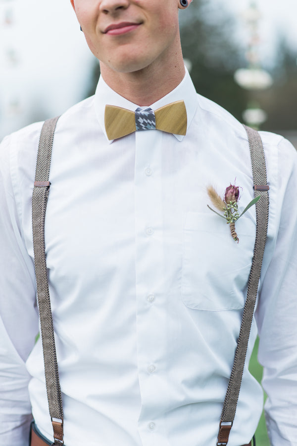 Groom in Suspenders and Bow Tie | Boho Wedding Inspiration | B. Jones Photography