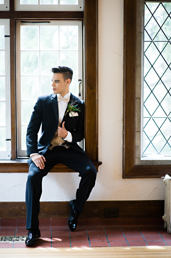 Groom in Window | Vintage Details for a Downton Abbey Inspired Wedding Shoot | HRM Photography