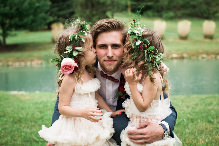 Groom with Flower Girls | Jasmine White Photography | A Fashion-Forward Floral Wedding