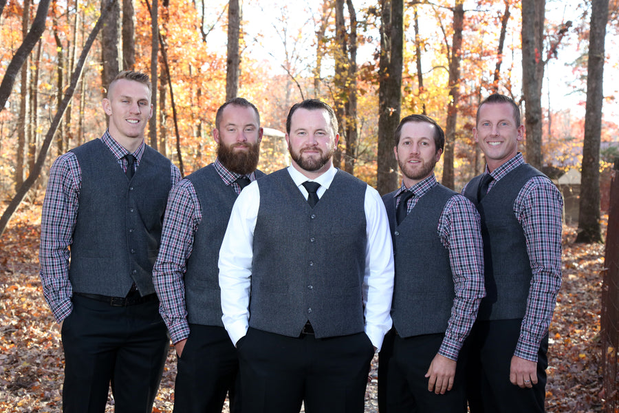 Groom with Groomsmen | ImpressionsPhotography | A Flannel Filled Fall Wedding | Kate Aspen