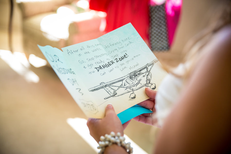 Groom's Note to Bride | Aviation Themed Wedding | Red Bridge Photography