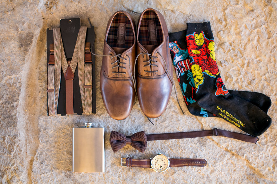 Groom's Shoes, Bow Tie, Suspenders and Socks | Elegant Barn Wedding | Jeannine Marie Photography