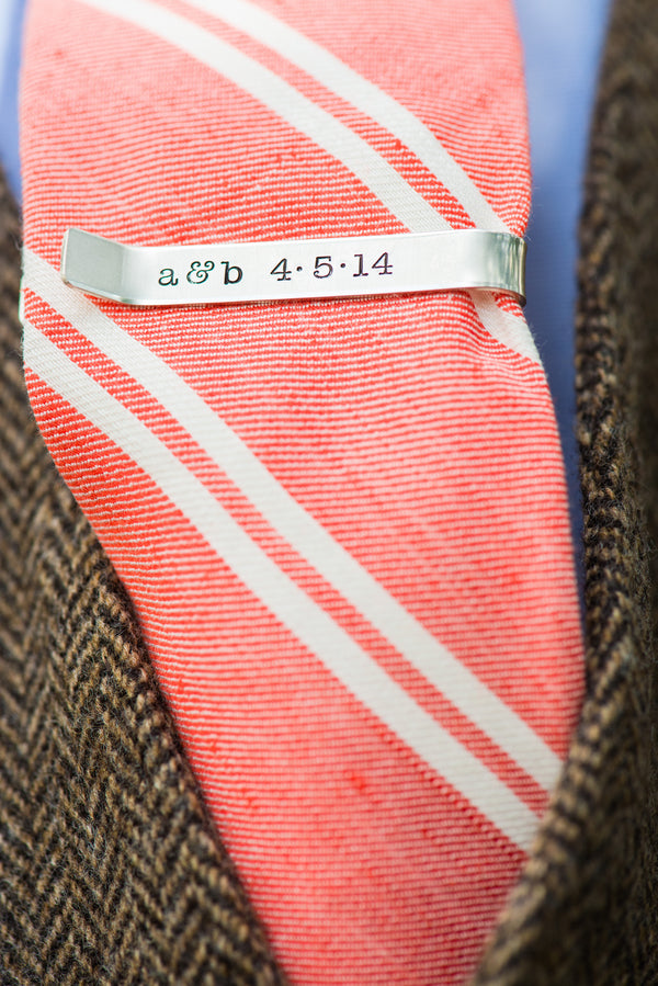 Groom's Personalized Tie Clip | Peachy Pink Wedding in Historic Charleston | Priscilla Thomas Photography