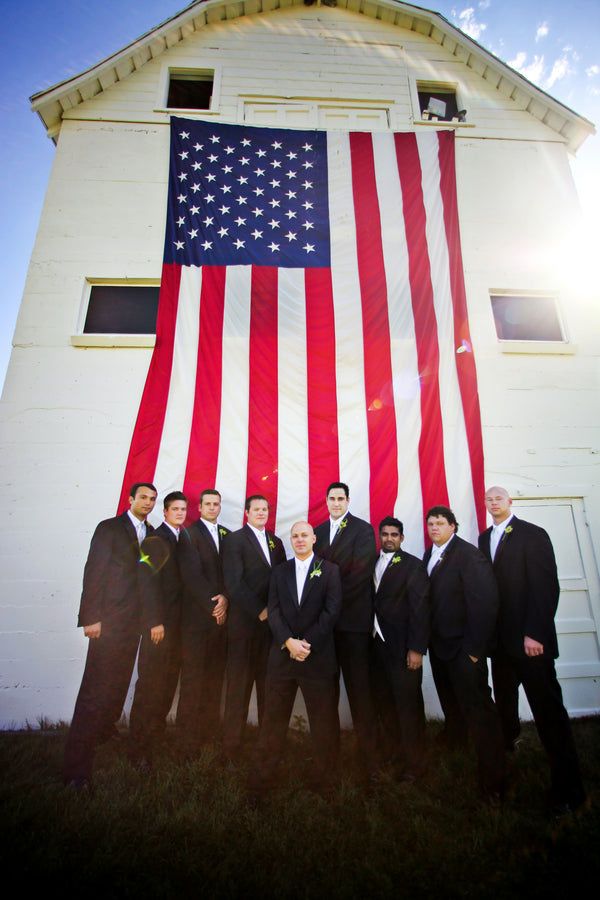 Groomsmen in Front of American Flag | Pepper Nix Photography