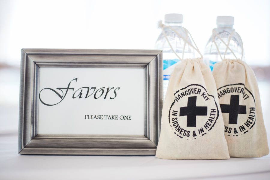 Hangover Kit Favors | Kennedy Grace Photography | Tips for the Perfect Beach Wedding | Kate Aspen