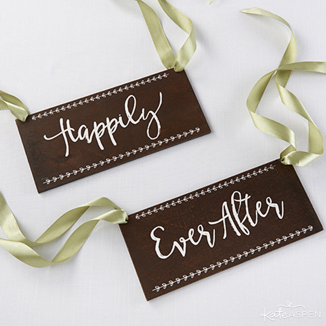Happily Ever After Chair Signs | Kate Aspen