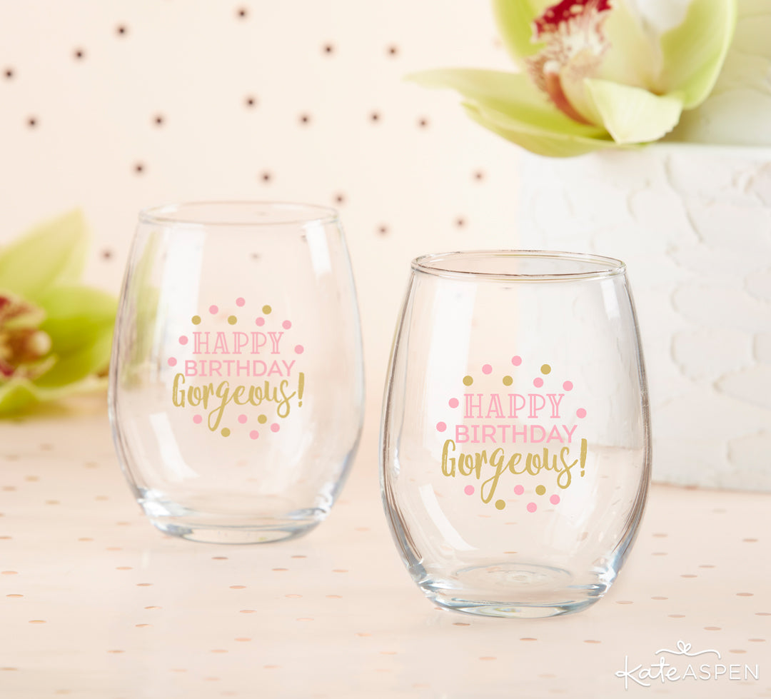 Happy Birthday Gorgeous Wine Glasses | The Perfect Birthday Party For Her | Kate Aspen