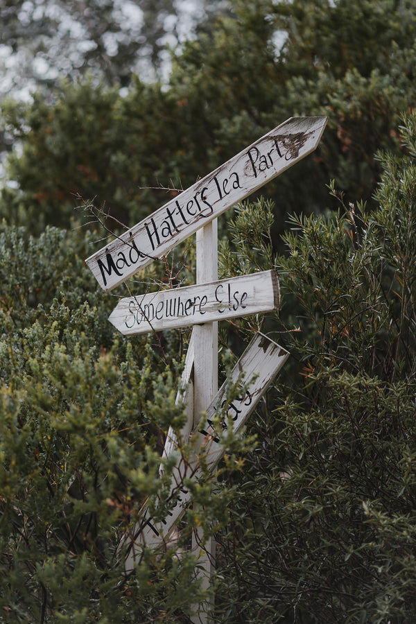 Had Tatter's Tea Party Sign | A Farmhouse Chic Wedding | Kate Aspen