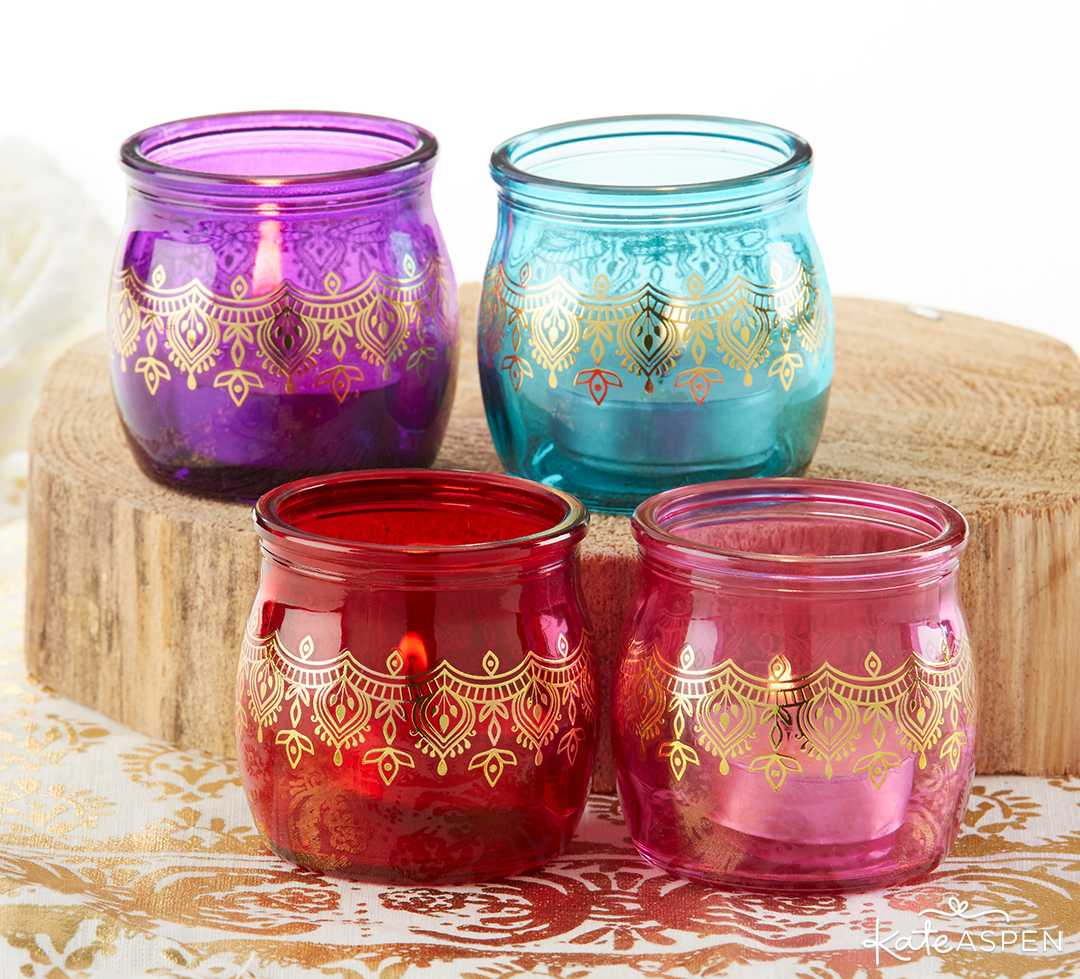 Indian Jewel Henna Tea Light Holder | Jewel Tone Accesories for Your Mehndi Party | Kate Aspen
