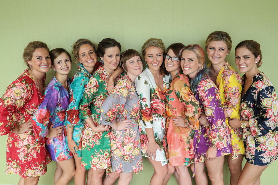 Bridesmaids in Colorful Floral Robes | Elizabeth Burgi Photography
