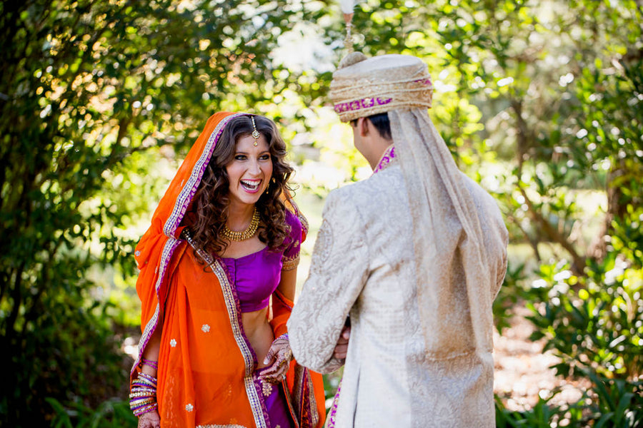 Fusion Indian Wedding First Look | Hilary Cam Photography