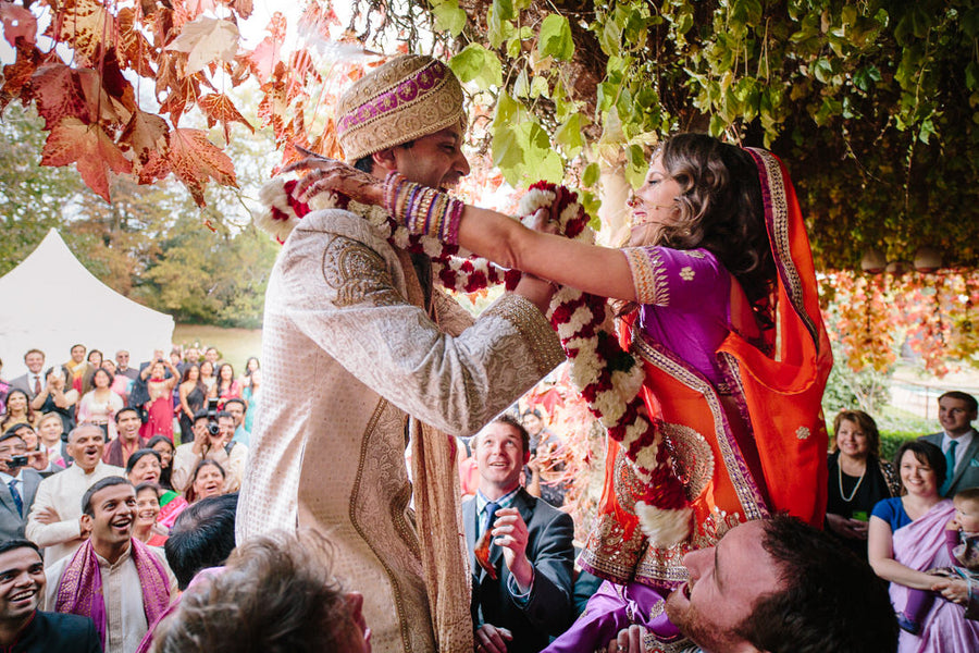 Fusion Indian Bride and Groom Exchanging Wedding Garlands | Hilary Cam Photography