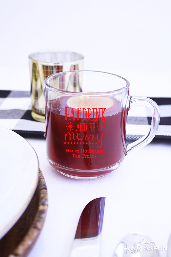 Apple Cider in a Customized Holiday Mug | @kateaspen | KateAspen.com