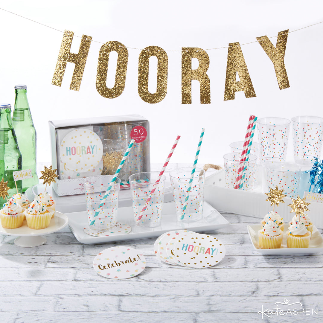 Hooray 50 Piece Party in a Box | 10 Glittering Party Favors and Decorations For All Occasions | Kate Aspen