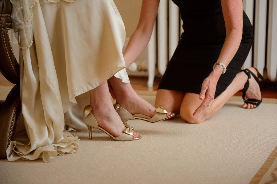 Bride's Gold Shoes with Bows - Eye Wonder Photo