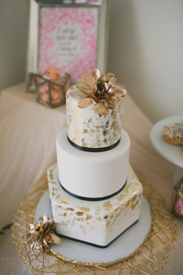 Modern Geometric Wedding Cake with a Gold Succulent Topper | Copyright Ampersand Studios 2014