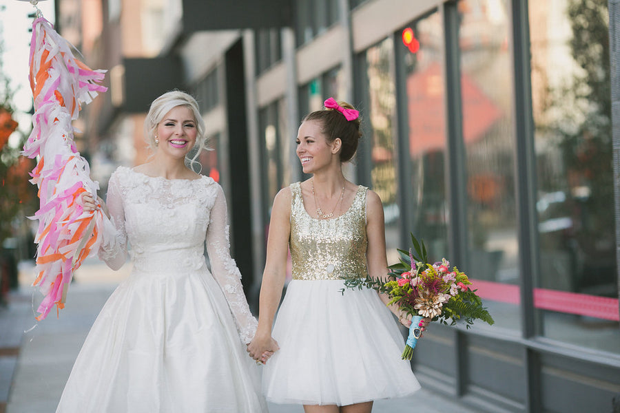 Modern Glam Bride and Maid of Honor | Copyright Ampersand Studios 2014