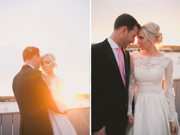 Sunset bride and groom photos on the rooftop | Copyright Ampersand Studios 2014