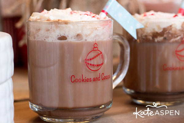 Cookies and Cocoa Party by Kate Aspen | Cookie Swap Ideas | Hot Chocolate Recipe | Hot Chocolate Bar Free Printables | Glass Mugs | Kate Aspen Blog