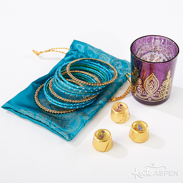 Indian Jewel Bridesmaid Box Votive Favor Bag and Bangles | Kate Aspen