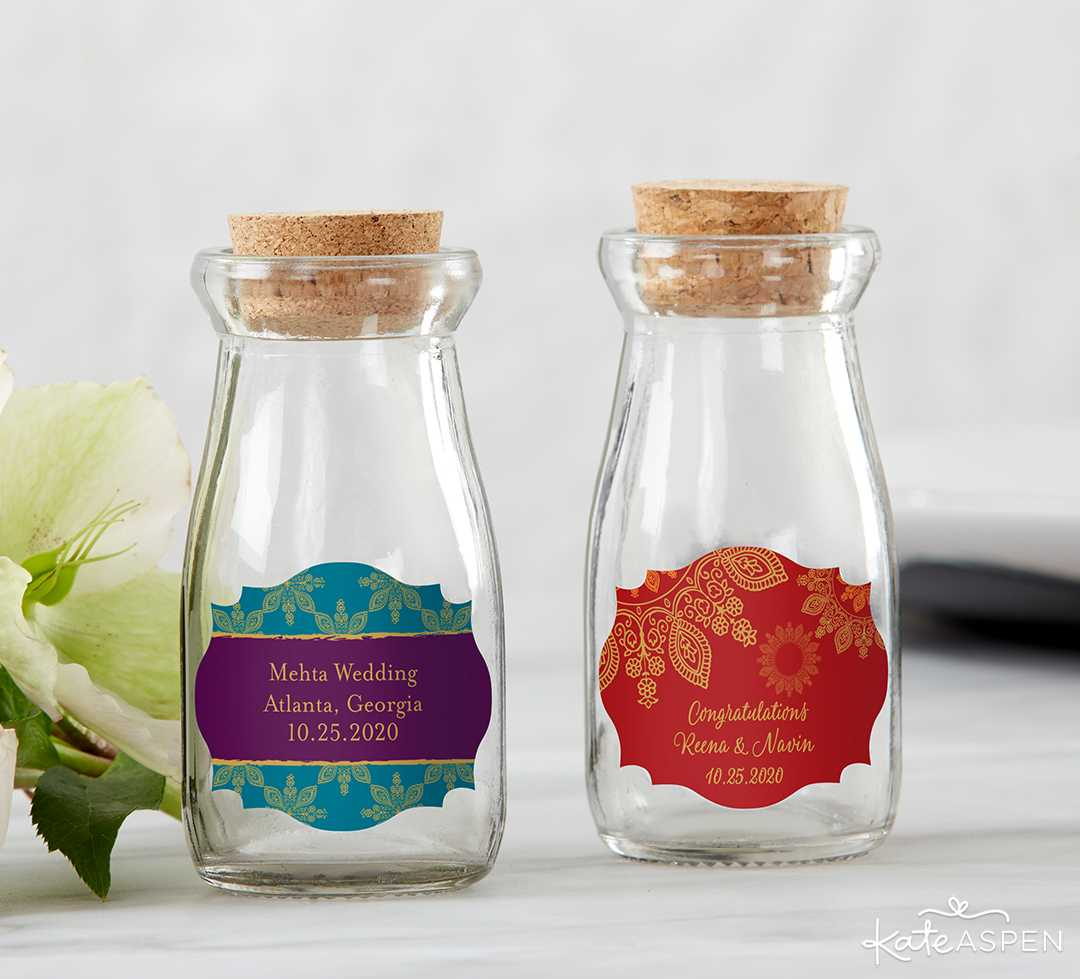 Pesonalized Vintage Milk Bottle Favor Jar | Jewel Tone Accessories for Your Mehndi Party | Kate Aspen