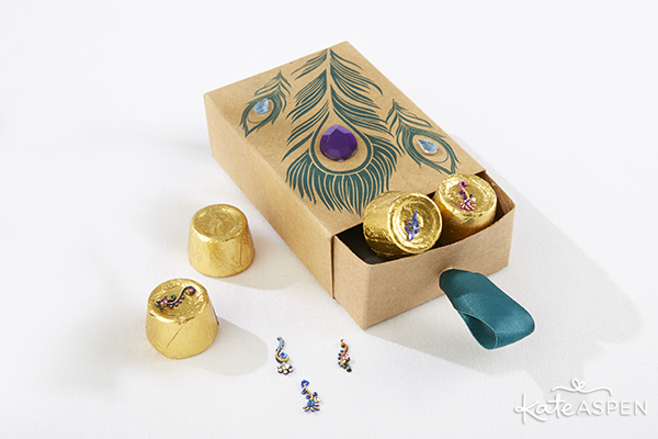 Indian Jewel Peacock Favor Box Filled with Bindi Favors | Kate Aspen