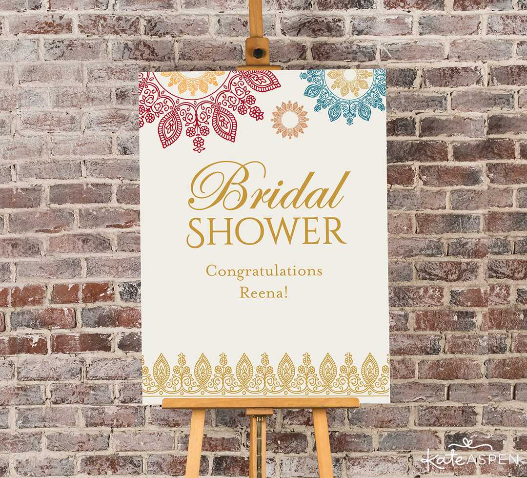 Indian Jewel Bridal Shower Poster | Jewel Tone Accessories for Your Mehndi Party | Kate Aspen