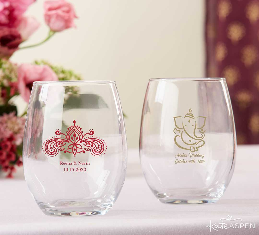Personalized 9oz Stemless Wine Glass- Indian Jewel | Jewel Tone Accessories for Your Mehndi Party | Kate Aspen