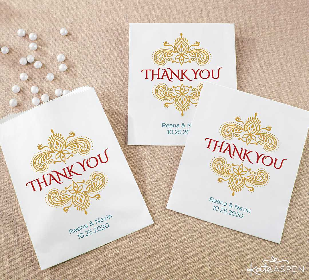 Personalized White Goodie Bag | Jewel Tone Accessories for Your Mehndi Party | Kate Aspen