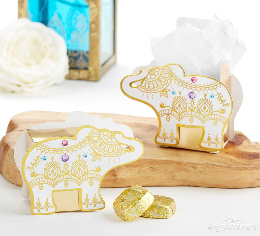 Lucky Gold Elephant Favor Box | Jewel Tone Accessories for Your Mehndi Party | Kate Aspen
