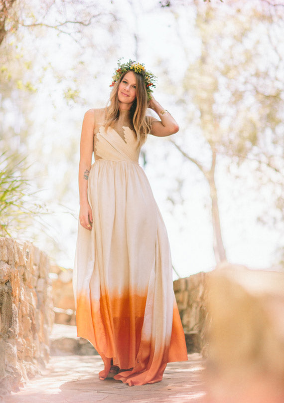 Indie Bride in Orange Ombre Wedding Dress | Jenny Markham Photography via 100 Layer Cake